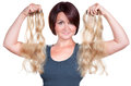 Woman choose her extensions the right Royalty Free Stock Photography