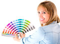 Woman choosing color to paint Royalty Free Stock Photos