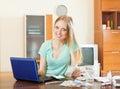 Woman choosing medication online pharmacy Royalty Free Stock Photo