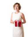 Woman with Christmas Gift Stock Photo