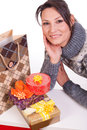 Woman with Christmas Gift box Stock Photography