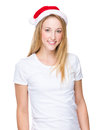 Woman with christmas hat Royalty Free Stock Photo