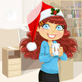 Woman in Christmas office hold cup of hot drinc Royalty Free Stock Photo