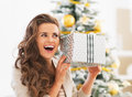 Woman with christmas present box in front of christmas tree excited young living room Stock Photography