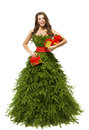 Woman Christmas Tree Dress, Fashion Model Girl Presents on White Royalty Free Stock Photo