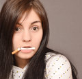 Woman with cigarette Stock Image