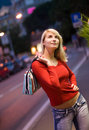 Woman in a city at night Royalty Free Stock Photography