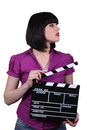 Woman with a clapperboard attractive Royalty Free Stock Images