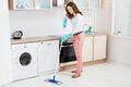 Woman Cleaning Floor With Mop Royalty Free Stock Photo