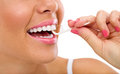 Woman cleaning flossing Royalty Free Stock Photo