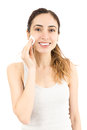 Woman cleaning her make up with a cotton ball Royalty Free Stock Photo