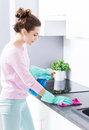 Woman cleaning kitchen Royalty Free Stock Photo