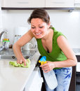 Woman cleaning with a rag in kitchen beautiful smiling furniture and detergent bottle Stock Images