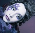 Woman with clew young in creative image and violet Royalty Free Stock Photo