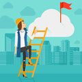 Woman climbing the ladder a holding to get red flag on top of cloud on background of modern city vector flat design Stock Image
