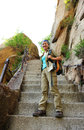 Woman climbing thousands steps at mount hua young asian china Royalty Free Stock Photos
