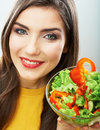 Woman close up smiling face diet food concept Stock Images