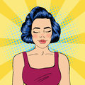 Woman with Closed Eyes. Meditating Girl. Relaxed Woman. Pop Art Royalty Free Stock Photo