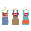 Woman Clothes On Hanger With Sale Tags Royalty Free Stock Photo