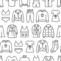 Woman Clothing Line Icon Seamless Pattern. Vector Background
