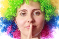 Woman with clown hair Stock Photography