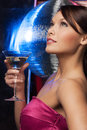 Woman with cocktail and disco ball Royalty Free Stock Images