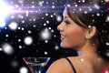 Woman with cocktail luxury vip nightlife party christmas x mas new year s eve concept beautiful in evening dress Stock Images