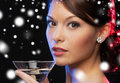 Woman with cocktail luxury vip nightlife party christmas x mas new year s eve concept beautiful in evening dress Royalty Free Stock Photo