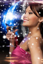 Woman with cocktail luxury vip nightlife party christmas x mas new year s eve concept beautiful in evening dress and disco ball Stock Photos