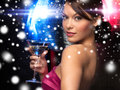 Woman with cocktail luxury vip nightlife party christmas x mas new year s eve concept beautiful in evening dress and disco ball Stock Images