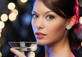 Woman with cocktail luxury vip nightlife party concept beautiful in evening dress Stock Photography