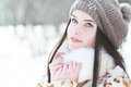 Woman in cold sunny winter outdoor portrait of young pretty beautiful weather park sensual brunette posing and having fun Royalty Free Stock Photos