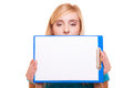 Woman college student girl holds clipboard with blank