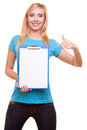 Woman college student girl holds clipboard and points