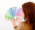 Woman with color guide Stock Images