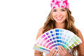 Woman with a color guide Royalty Free Stock Photo