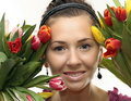 Woman with Colored Tulips Royalty Free Stock Photos