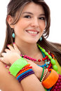 Woman with colorful jewelry Royalty Free Stock Photos