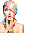 Woman with colorful makeup beauty hair nails and accessories Stock Photos