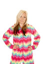 Woman in colorful pajamas stand hands hips Royalty Free Stock Photo