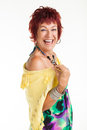 Woman with colourful dress & yellow scarf. Stock Photography