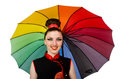 The woman with colourful umbrella isolated on white Royalty Free Stock Photo