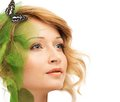 Woman in conceptual spring costume dreaming young with butterfly Stock Photography