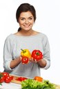 Woman cook with fresh vegetables Stock Image