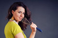 Woman cook funny sings at the whisk Stock Photography