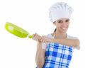 Woman cook with pan on white background Royalty Free Stock Photos