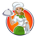Woman cook restaurant vector illustration isolated white background Stock Image