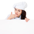 Woman cook with signboard Royalty Free Stock Photo