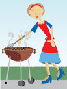 Woman cooking at BBQ outside Royalty Free Stock Image