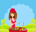 Woman cooking grill illustration Stock Photos